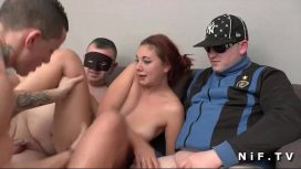 Nude In France – French Brunette Gets Gangbanged