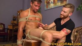 Bound Muscular Gay Cums While Getting A Hj