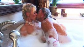 Hot Milf In The Bathtub Has A Big Cock Taking Care Of Her Pussy
