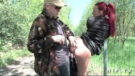 Nude In France – French Redhead Slut Gets Ass Fucked In Threesome Outdoor
