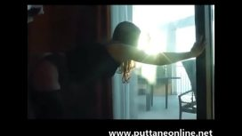 Italian Girl Painful Anal Fuck At The Window