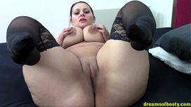 Dreams Of Booty – German Bbw Samantha Teasing In Black Stockings On The Bed Hd