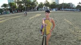 Naughty Lada – One Piece Mesh Transparent Swimsuit In Public Beach